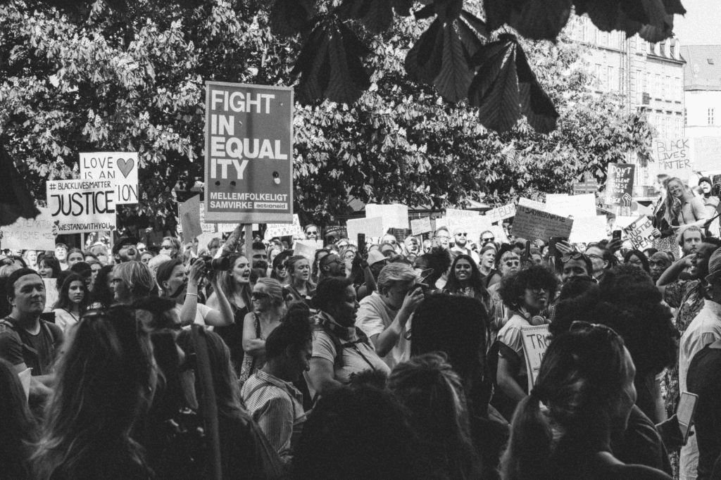 Black and white photo of a Black Lives Matter Protest